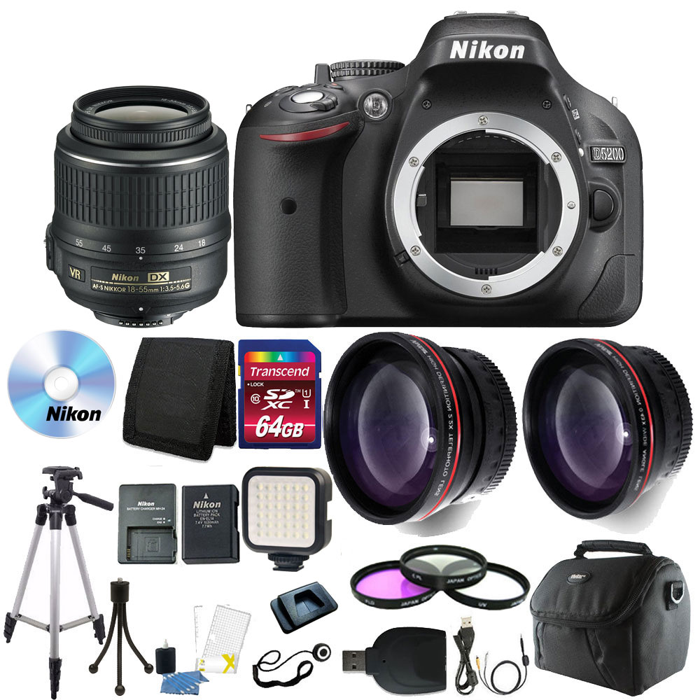Nikon D5200 24.1MP DSLR Camera with 64GB Deluxe Accessory Bundle