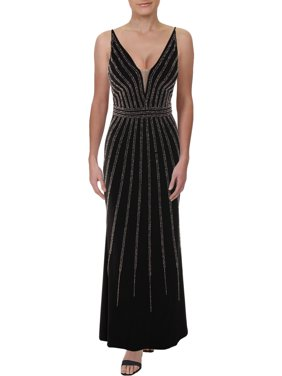 Petite Beaded V-Neck Gown