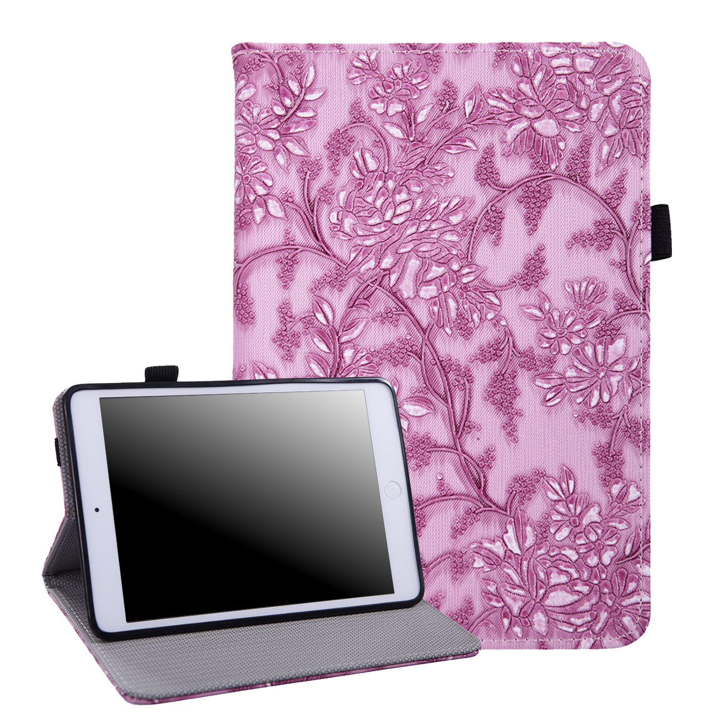 HDE iPad Mini 2 3 Case Slim Fit Leather Folio Cover Auto Sleep Wake Protective Flip Stand for Apple Mini iPad 1st 2nd 3rd Generation Retina (Purple Embossed Flower)