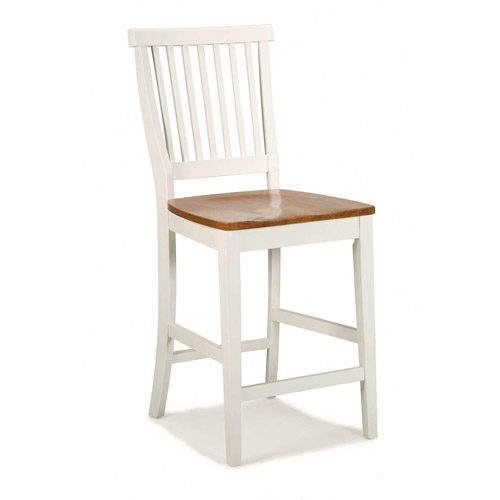 "Home Styles Wood Counter Stool 24"", White and Cottage Oak"