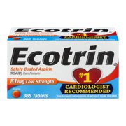 Ecotrin Low Strength Safety Coated Aspirin, NSAID, 81mg, 365 Tablets