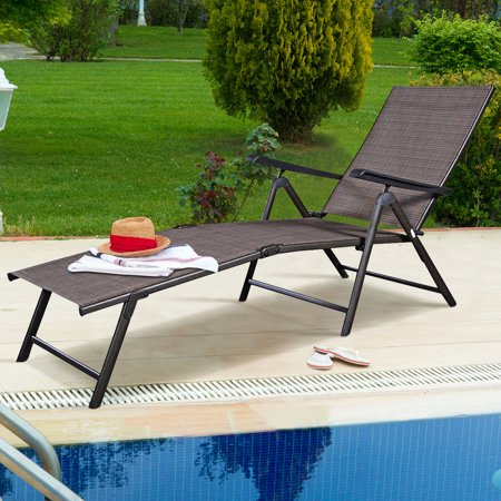Costway Pool Chaise Lounge Chair Recliner Outdoor Patio Furniture Adjustable ()