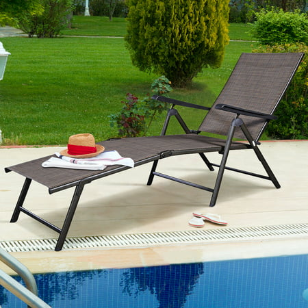 Costway Pool Chaise Lounge Chair Recliner Outdoor Patio Furniture - Furniture Lounger