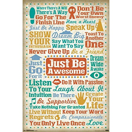 Positive Inspirational Poster Amazing Quotes Collage - Just Be Awsome - New  24x36