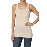 TheMogan Junior's S~3XL Stretchy Ribbed Knit Fitted Racerback Tank Top Cotton Spandex
