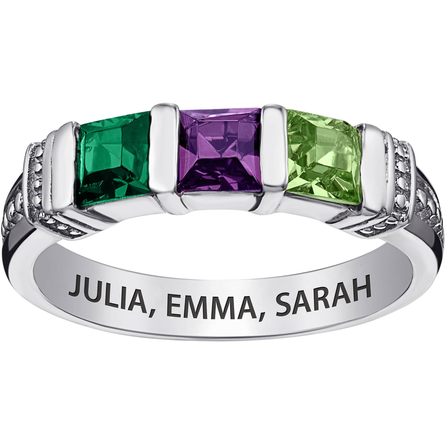 Personalized Sterling Silver Mother's Square Birthstone Ring