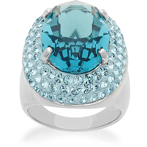 Luminesse Blue Ring in Sterling Silver with Swarovski Elements, Size 7