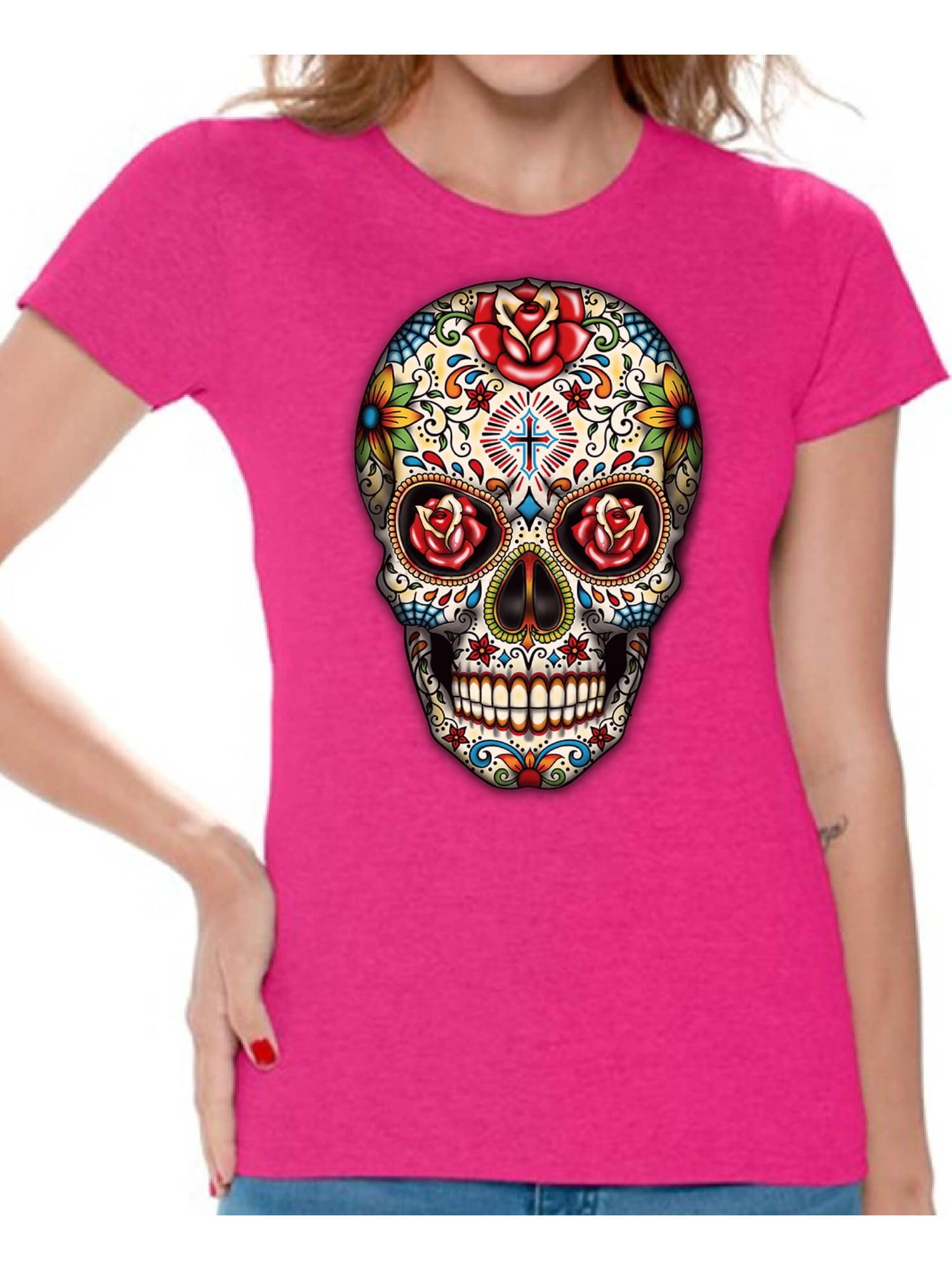 Awkward Styles Rose Eyes Skull Tshirt for Women Sugar Skull Roses ...