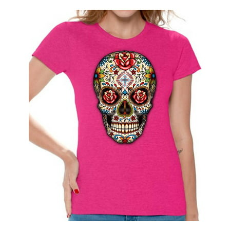 Awkward Styles Rose Eyes Skull Tshirt for Women Sugar Skull Roses Shirt Sugar Skull T Shirt Dia de los Muertos Outfit Day of the Dead Gifts Halloween Shirts Women's Skull Tshirt Red Rose Skull Shirt - Halloween Messages For Boyfriend