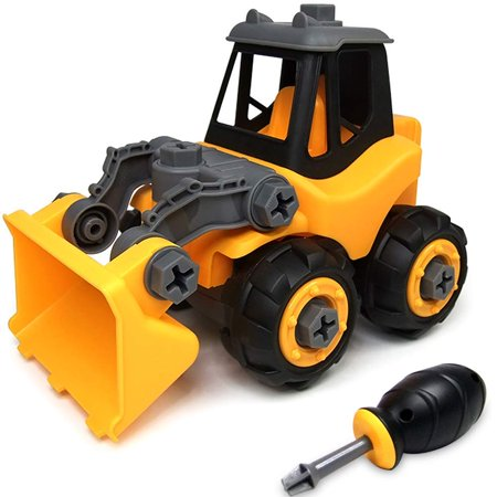 Take Apart Toys, Toy Vehicles, Assembly Toy Excavator Bulldozer with Constructions Set, Building Vehicle Play Set with Screwdriver, Ideal Educational Toy for Toddlers, Boys & Girls Aged 3-5 years old