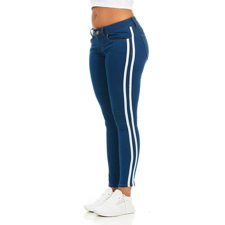 CG JEANS Plus Size Cute Side Race Stripe Juniors Skinny Fit Slim Low Rise Denim, Medium White,