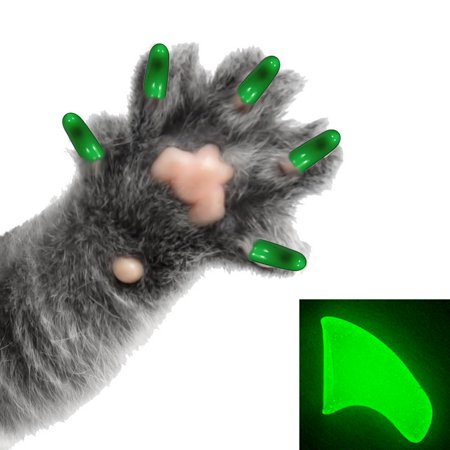 60 Pack Alien Glow Soft Nail Caps for Cats Pretty Claws - Medium - Halloween Cat Nail Designs