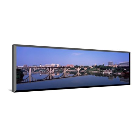 - Bridge Across River, Henley Street Bridge, Tennessee River, Knoxville, Knox County, Tennessee Wood Mounted Print Wall Art