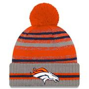 Denver Broncos New Era 2021 NFL Sideline Sport Pom Cuffed Knit Hat - Gray - OSFA