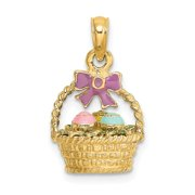 Roy Rose Jewelry 14K Yellow Gold 3-D Enameled Easter Basket With Bow & Eggs Charm Pendant