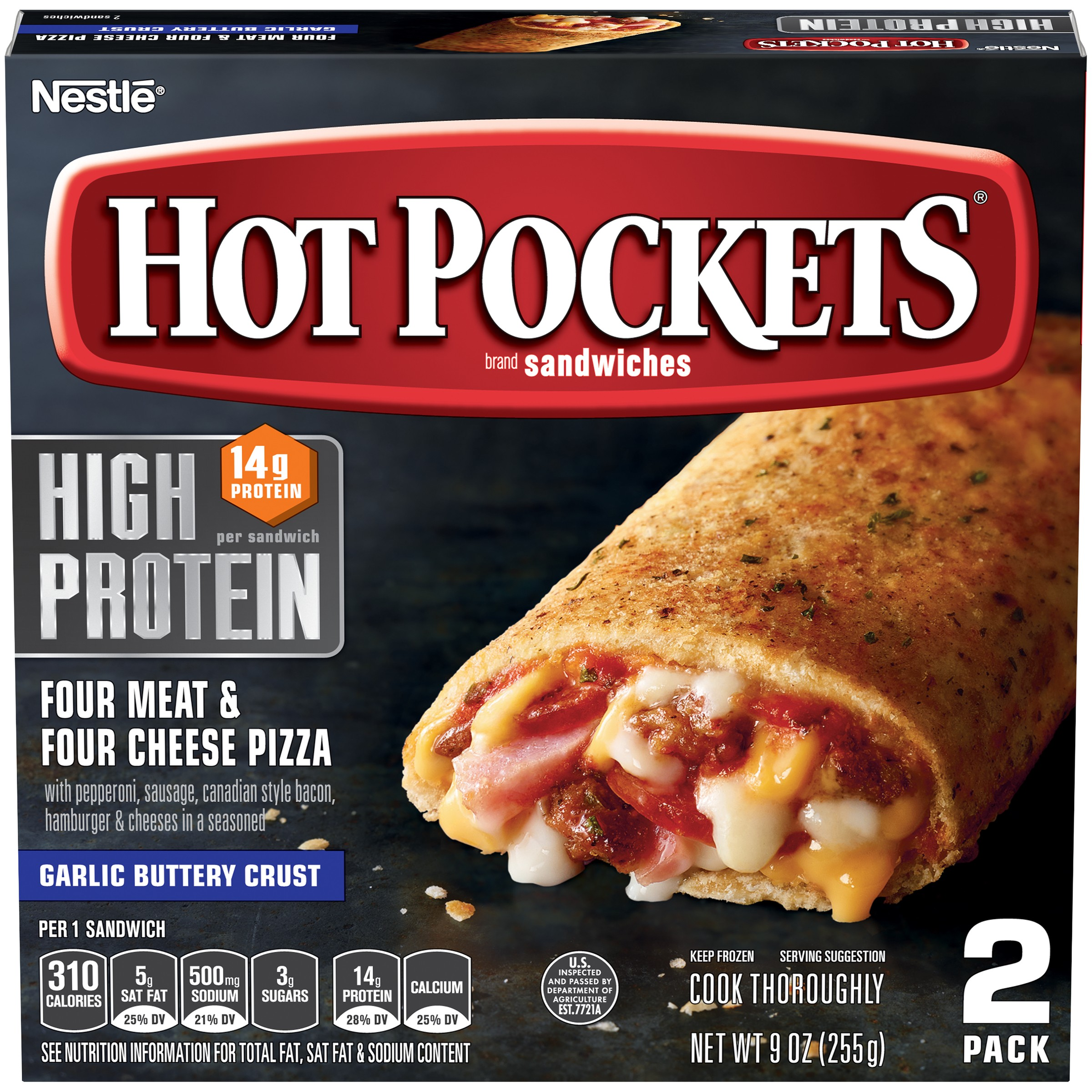 HOT POCKETS Frozen Sandwiches Four Meat & Four Cheese Pizza 2-Pack