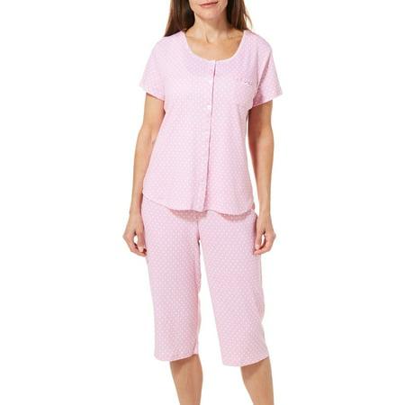 Dot Capri Pajama - Karen Neuburger Womens Polka Dot Print Capris Pajama Set