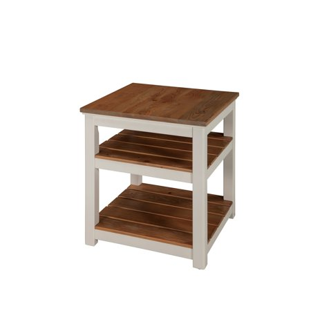 Savannah 2 Shelf End Table, Ivory with Natural Wood Top Savannah Two Metal