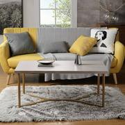 Wood Coffee Table, Modern Rustic Metal Frame Coffee Tables for Living Room, Coffee Table and End Tables, Tea Table Suit for Living Room, Home Office, Y Base Gold Metal Frame, Beige Wood, R1186