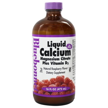 Bluebonnet Nutrition Calcium Magnesium Citrate Plus Vitamin D3 Liquid, Natural Raspberry, 16 Fl Oz