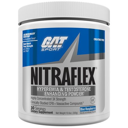 GAT NitraFlex Pre-Workout & Testosterone Booster 30 Servings - Blue