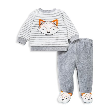 Baby Boy's 2-Piece Velour Fox Sweatshirt & Footed Pants Set