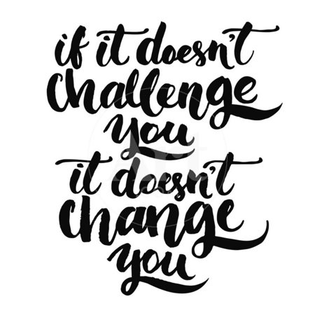 If it Doesn't Challenge You, it Doesn't Change You. Motivational Quote, Vector Lettering Poster Motivational Words Print Wall Art By kotoko