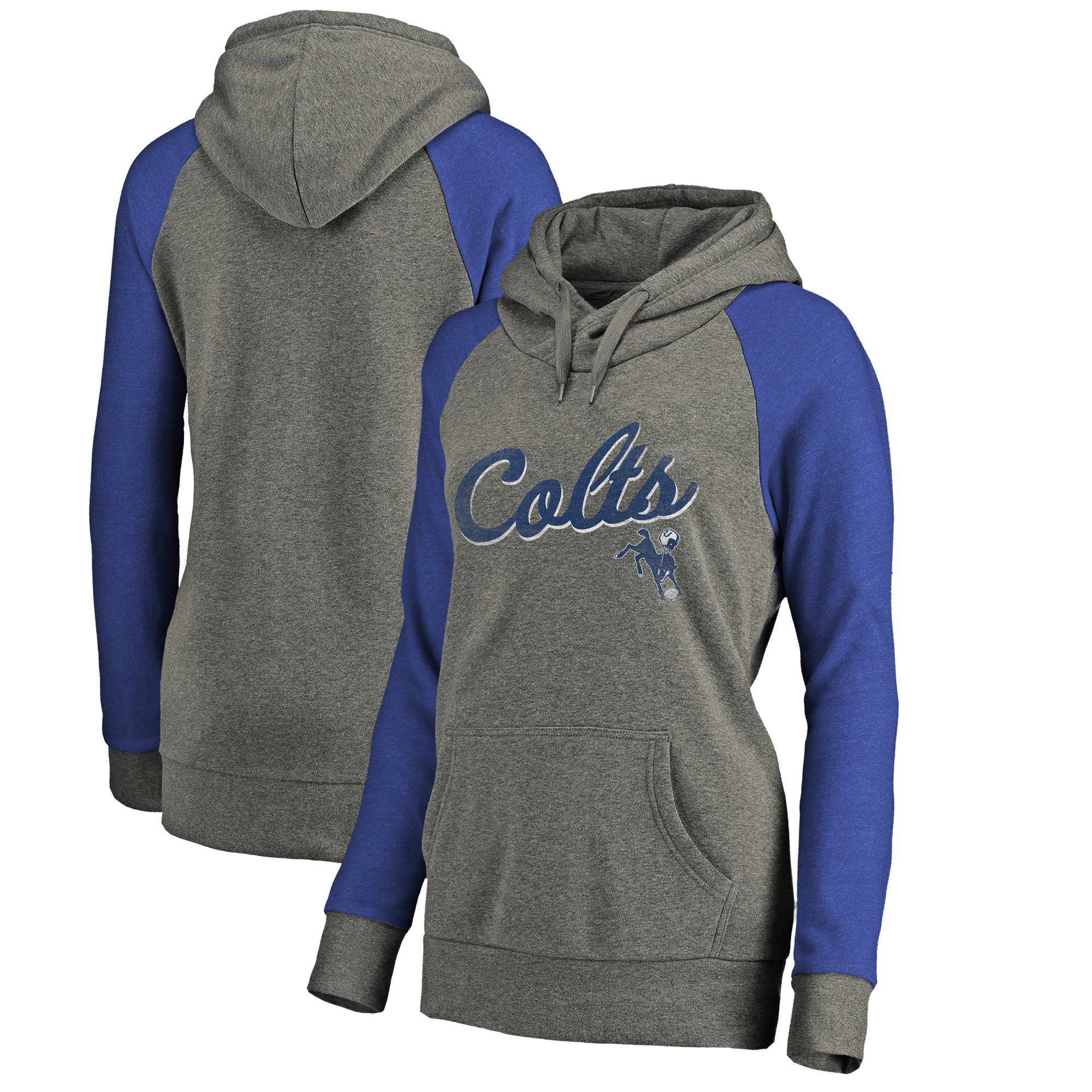 Indianapolis Colts NFL Pro Line by Fanatics Branded Women's Timeless Collection Rising Script Tri-Blend Raglan Pullover Hoodie - Ash