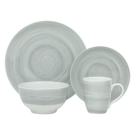Safdie & Co. 16-Piece Porcelain Dinnerware Set, Grey Stone ()