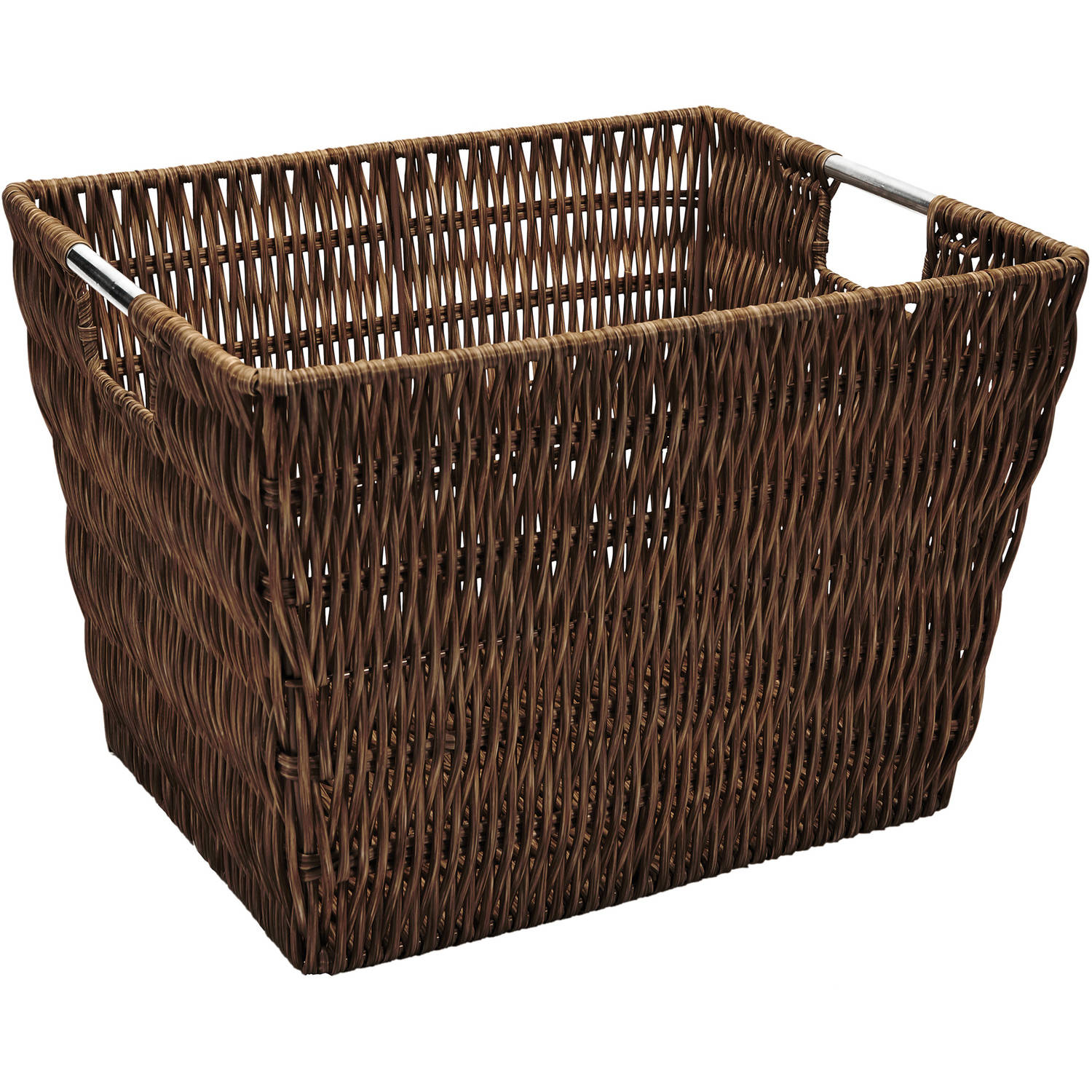 Simplify Medium Faux Rattan Vertical Weave Tote