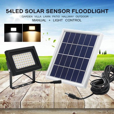 - 54 LED 400LM Solar Powered Super Bright Lamp + Solar Panel Flood Night Light Spot Lamp Dusk-to-Dawn Sensor Waterproof Decor Garden Patio