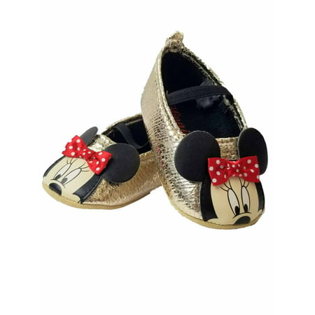 Disney Baby Infant Girls Gold & Red Minnie Mouse Ears Loafer House Shoes](Minnie Mouse Toddler Shoes)