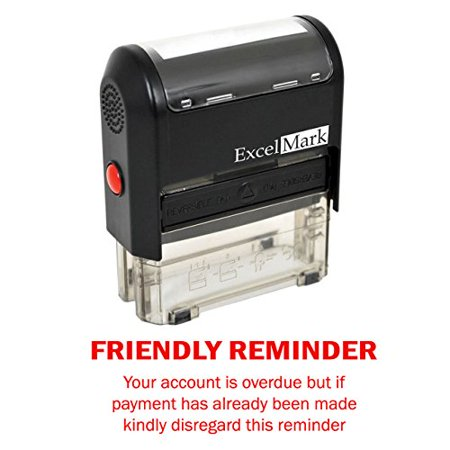 FRIENDLY REMINDER OVERDUE - Self Inking Bill Collection Stamp in Red Ink](Friendly Reminder)