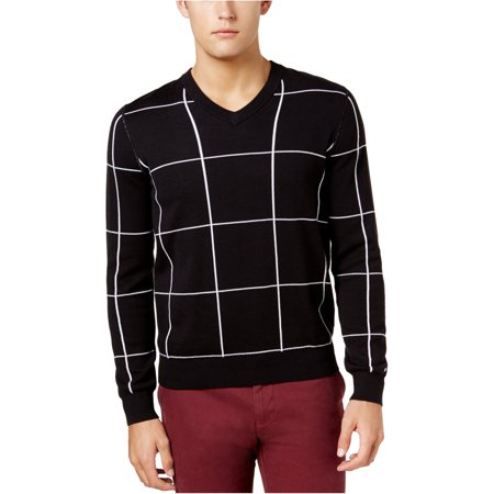 Tommy Hilfiger Mens Reversible Pullover Sweater, Black, Small Reversible Plaid Pullover