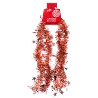 New 378404 Hx Garland 10Cm 5Ply 6.5Ft Rose Gold W / Star (24-Pack) Christmas Cheap Wholesale Discount Bulk Seasonal Christmas X Others