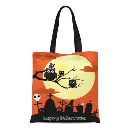 NUDECOR Canvas Tote Bag Orange Cute Happy Halloween Owl Cartoon Cemetery Tree Abstract Durable Reusable Shopping Shoulder Grocery Bag - image 1 of 1