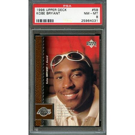 1996 97 Upper Deck  58 Kobe Bryant Los Angeles Lakers Rookie Card Psa 8