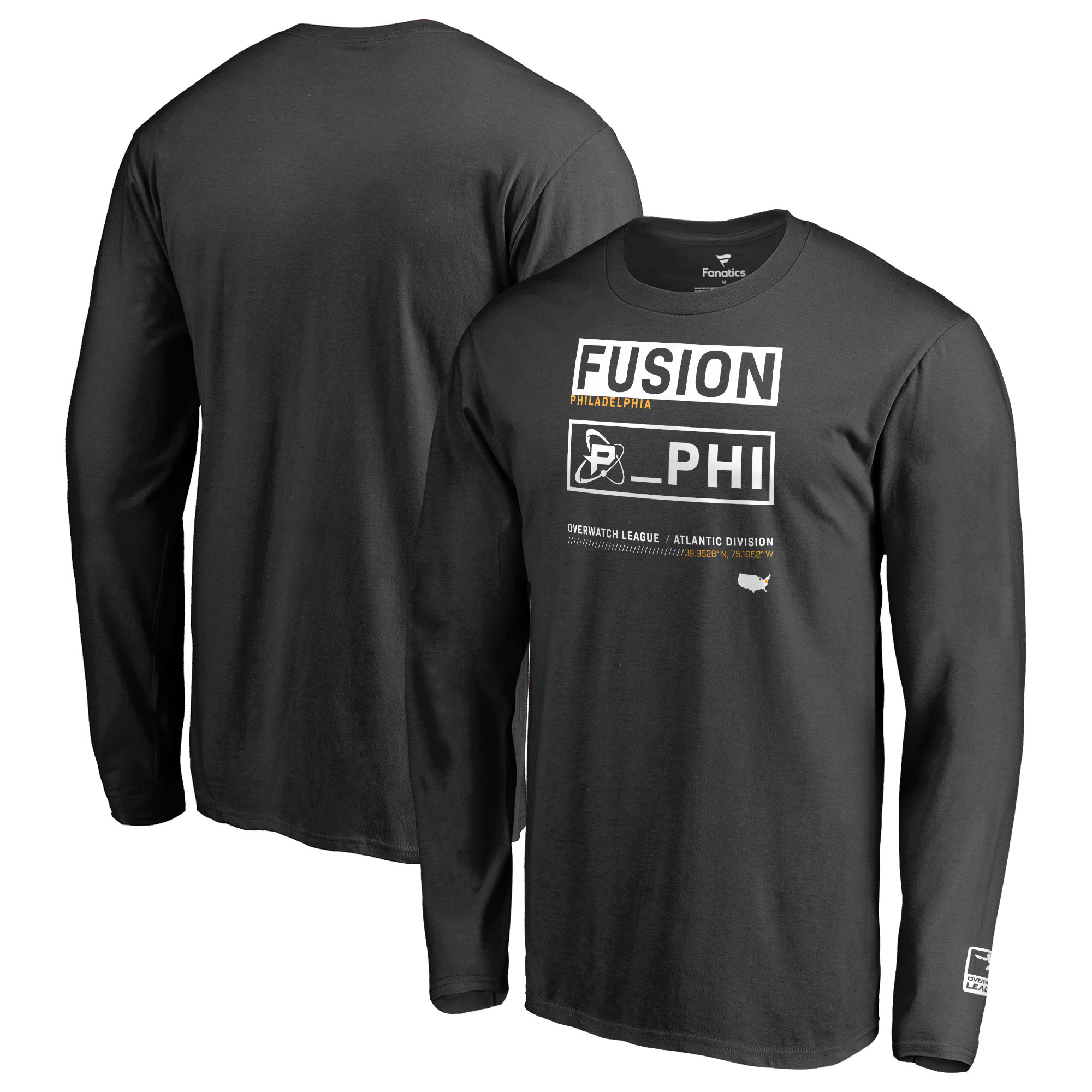 Philadelphia Fusion Fanatics Branded Overwatch League Double Down Long Sleeve T-Shirt - Black