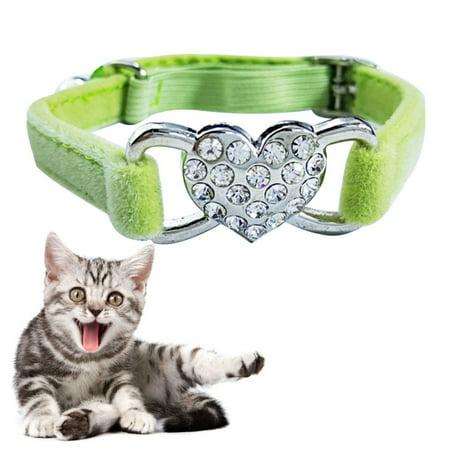 Pet Cat Heart-shaped Diamond Double Layer Plush Adjustable Collar, Size:1.0*28.0cm