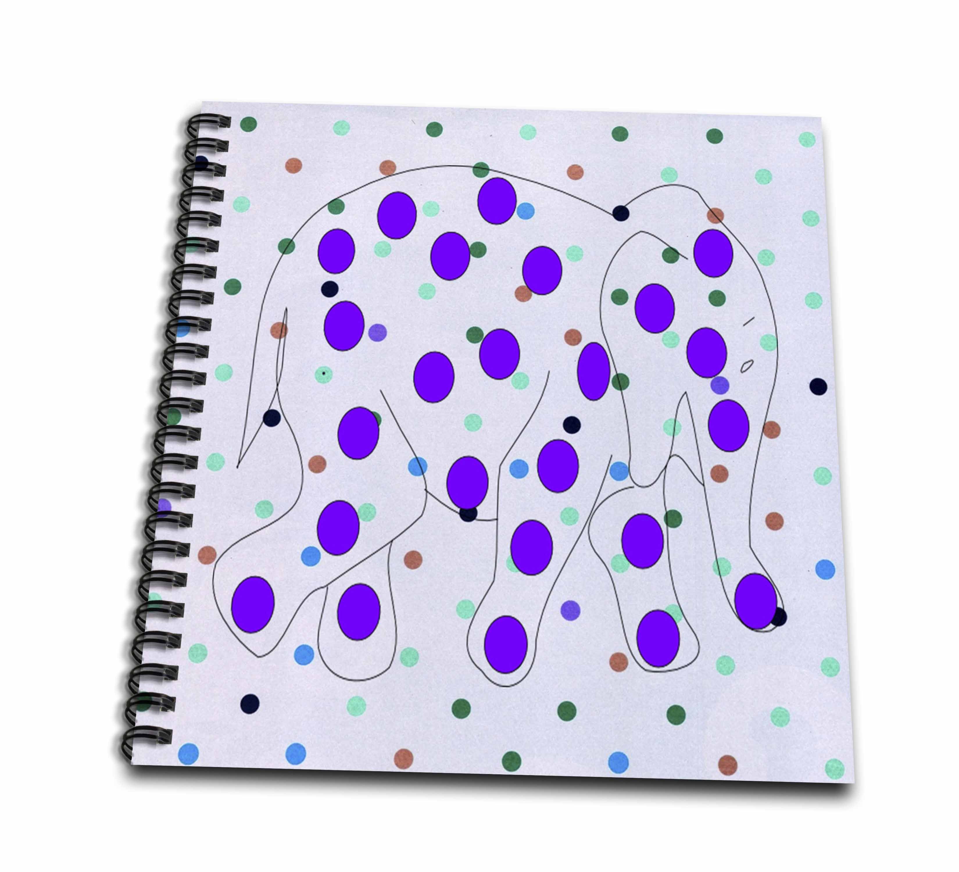 3dRose Print of Cute Purple Polka Dot Elephant On Multicolor Dots - Drawing Book, 8 by 8-inch