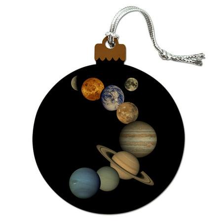 Solar System Planets Mercury Venus Mars Earth Moon Jupiter Saturn Uranus Neptune Wood Christmas Tree Holiday Ornament Earth Christmas Tree Ornament