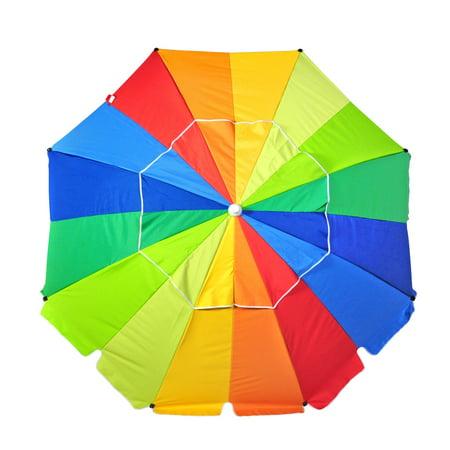 8 ft Platinum Heavy Duty Beach Umbrella with Reinforced Fiberglass Ribs, Carry Bag, Accessory Hanging Hook, -
