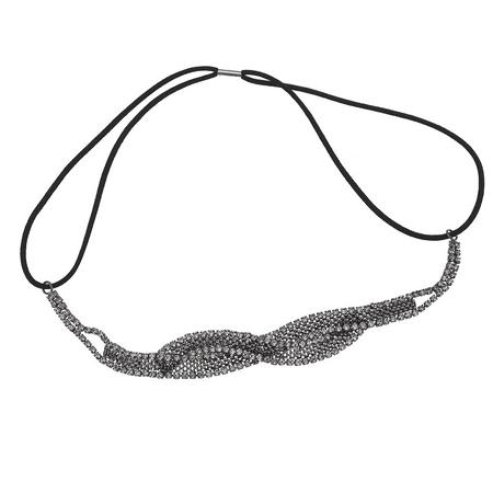 Lux Accessories Hematite Tone Braided Mesh Crystal Rhinestone Stretch Headband (Rhinestone Stretch Band)