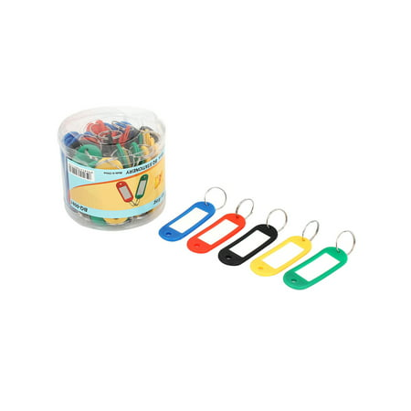 50 x Multi Color Plastic Key ID Label Tags Split Ring Keyring Keychain](Cowbell Keychain)