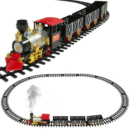 - Best Choice Products Classic Train Set For Kids With Real Smoke, Music, and Lights Battery Operated Railway Car Set