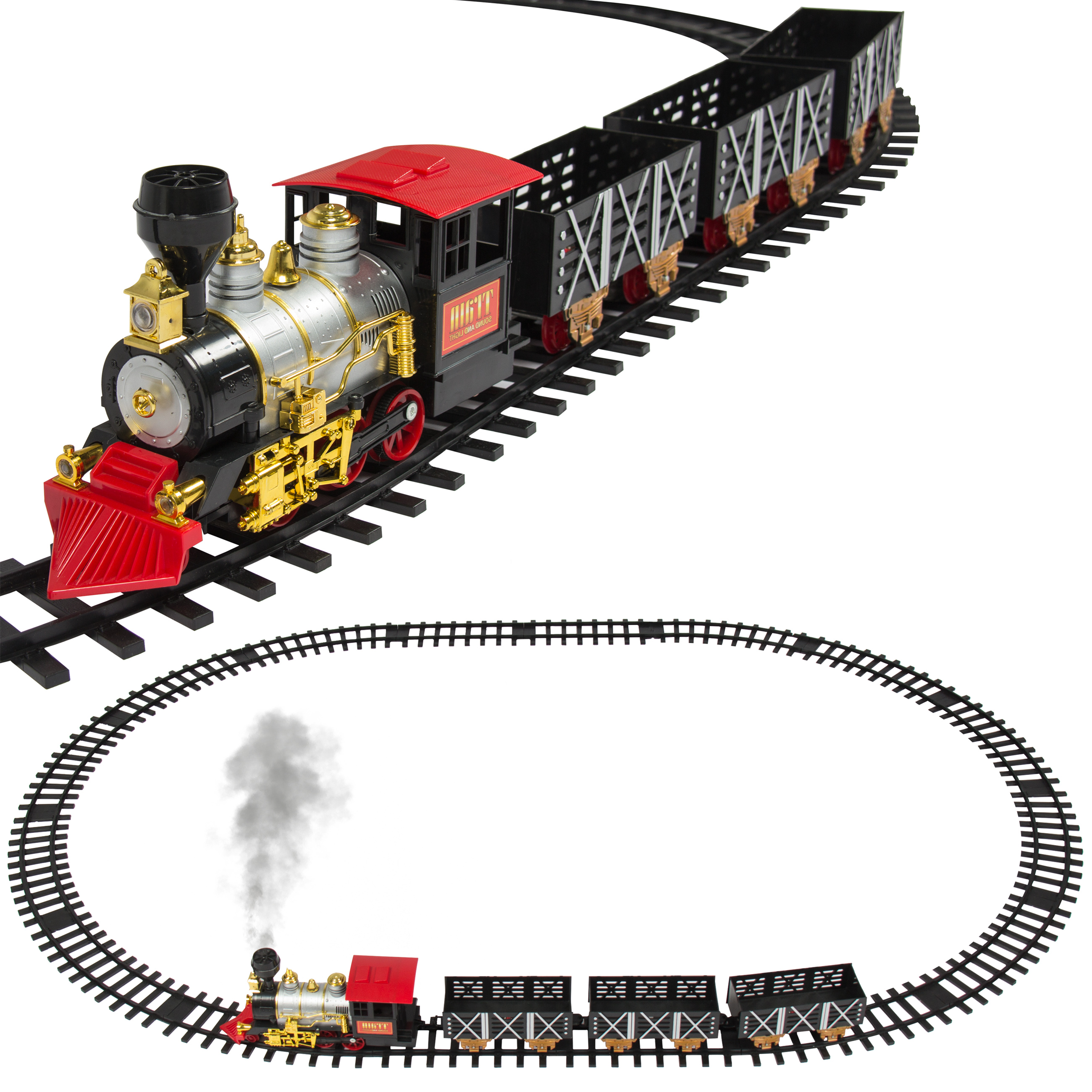 Best Choice Products Classic Train Set For Kids With Real Smoke, Music, and Lights Battery Operated Railway Car Set