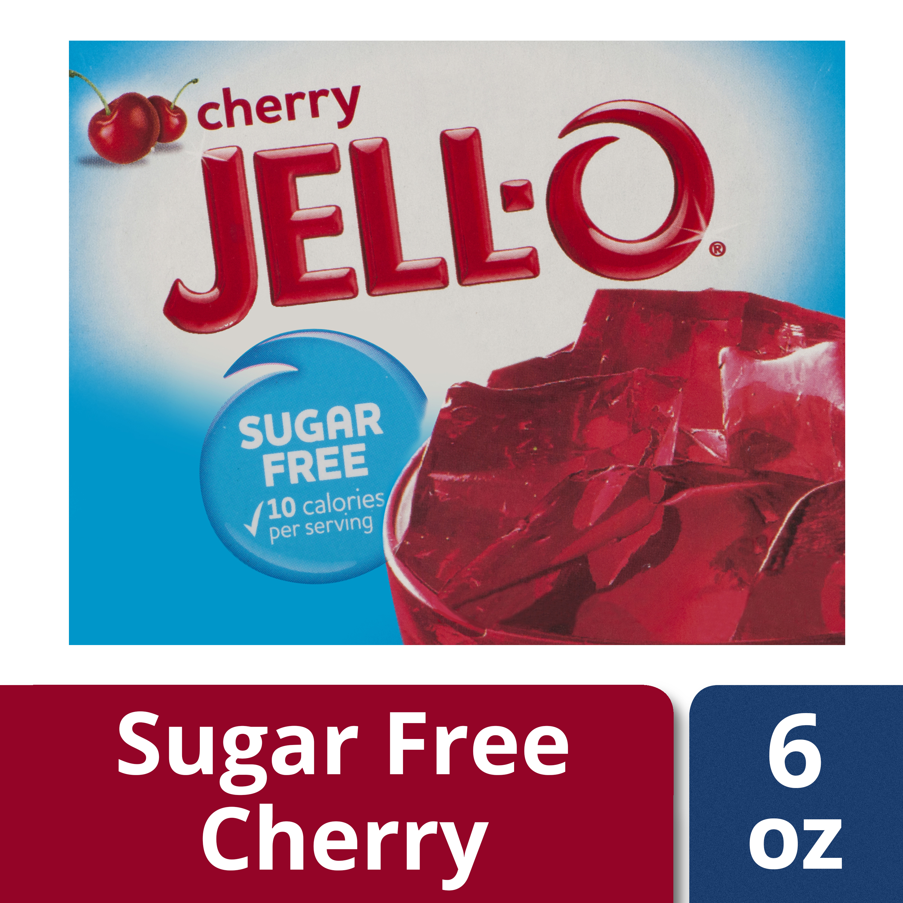 (3 Pack) Jell-O Cherry Sugar Free Gelatin Mix, 0.6 oz Box