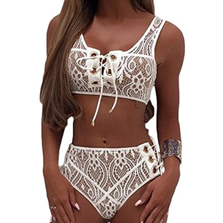 SAYFUT Women Two Piece Bikini Set Lace Up Front Top High Waist Tie Side Bottom Lace Swimwear Swimsuit