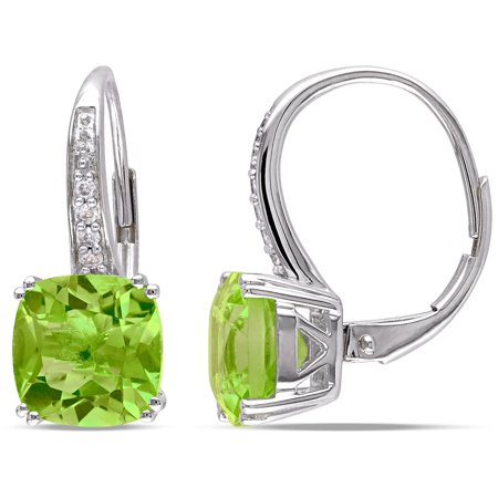 Tangelo 4-1/5 Carat T.G.W. Peridot and Diamond-Accent 10kt White Gold Cushion Leverback Earrings