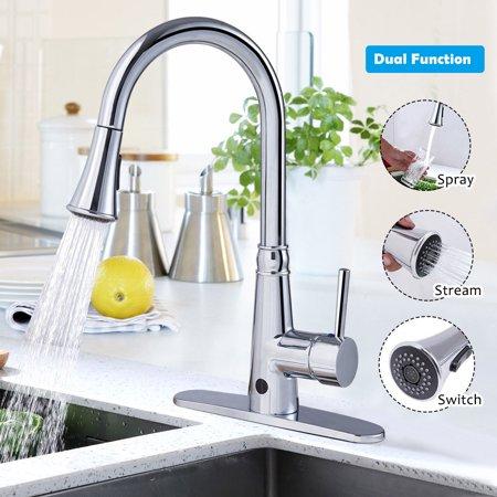 Goplus Motion Sense Touchless Kitchen Faucet Pull-Down Single Handle Dual Spray Chrome